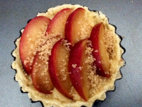 plum and frangipane tart uncooked