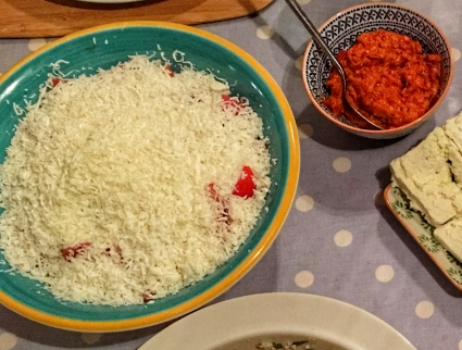 The finished salad, drowned in a sea of salty white cheese, mmm