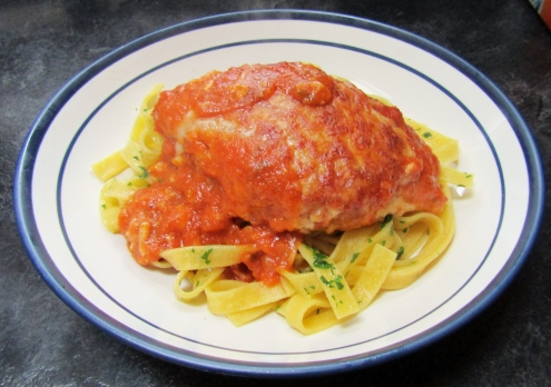Chicken Parmigiana with Tagliatelle