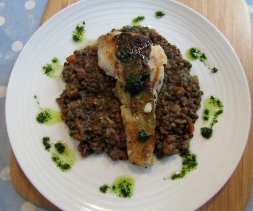 Cod with lentils and parsley sauce