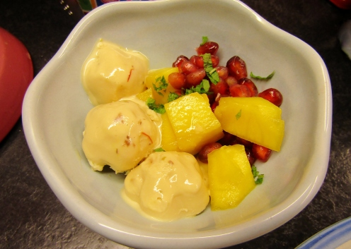 Saffron and Pistachio Kulfi with Mango and Pomegranate